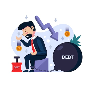 Flat design bankruptcy illustration
