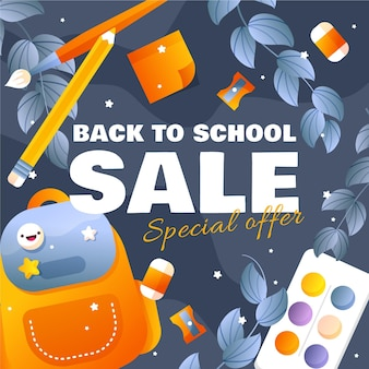 Flat design banner back to school sales