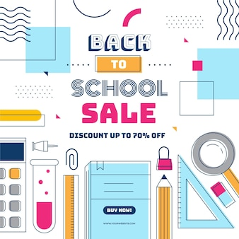 Flat design banner back to school sales