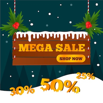 Flat design banner christmas mega sale