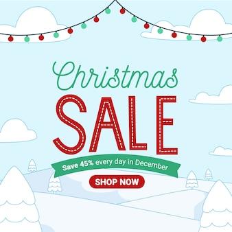 Flat design banner christmas sale
