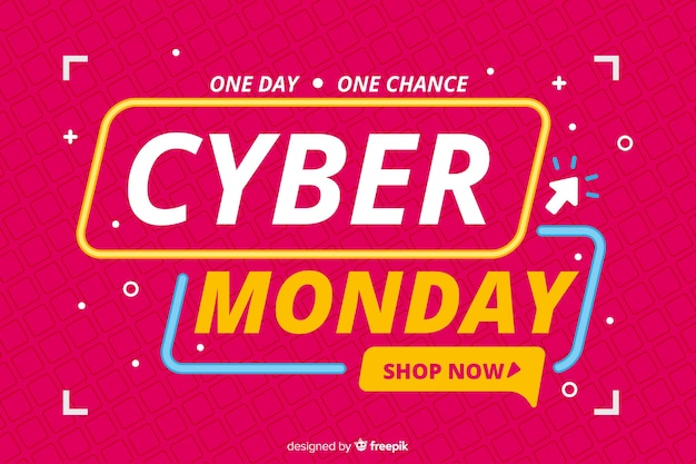Flat design banner cyber monday sale