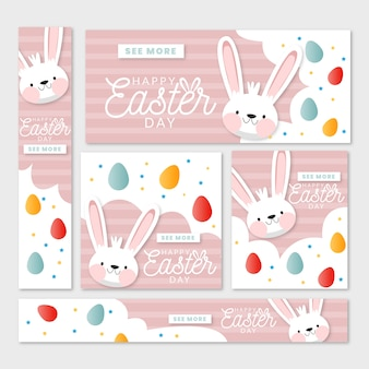 Flat design banner for easter with bunnies and colourful eggs