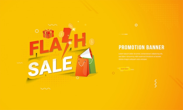 Flat design banner for online shop with flash sale promotion concept