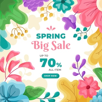 Flat design banner spring sale deal