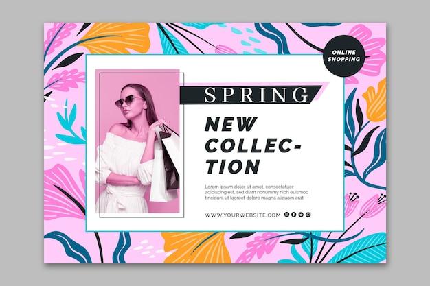 Flat design banner spring sale template