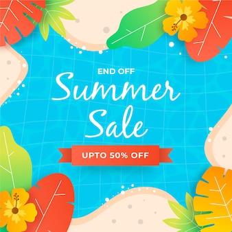 Flat design banner summer sale
