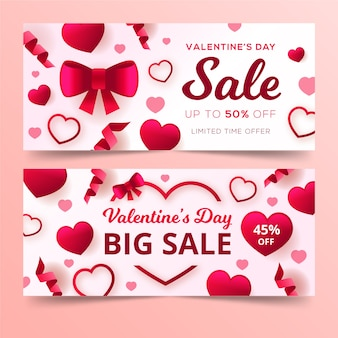Flat design banners for valentine's day