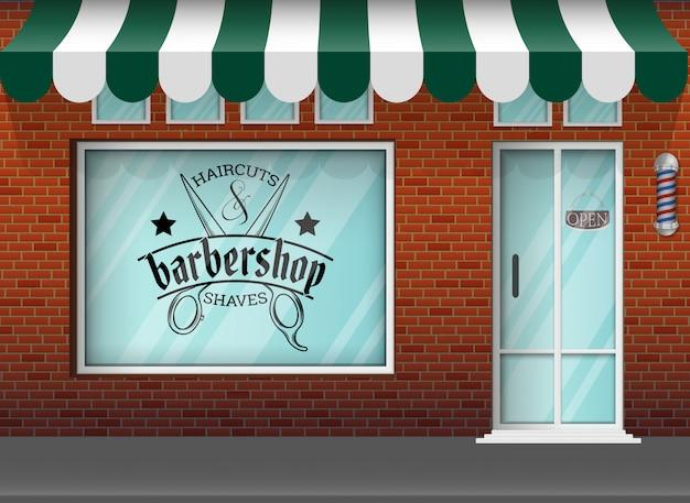 Flat design barbershop store
