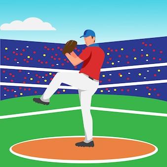 Flat design of baseball pitcher