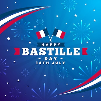 Flat design bastille day celebration