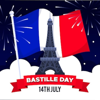 Design piatto illustrazione bastille day