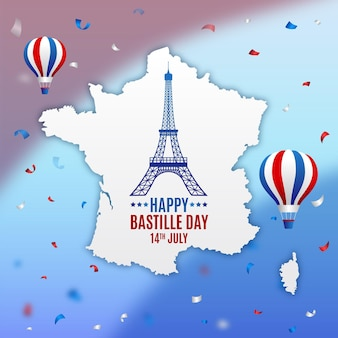 Flat design bastille day theme