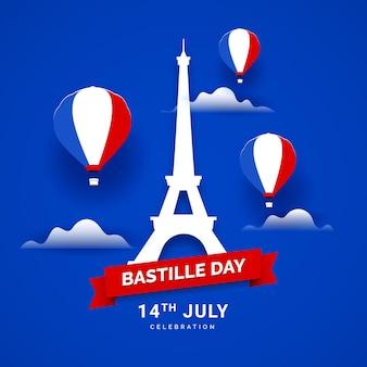 Flat design bastille day