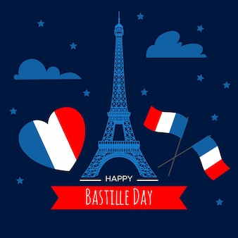 Flat design bastille day
