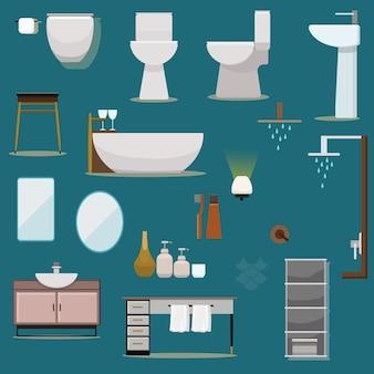 フラットデザインバスルーム家具コレクション