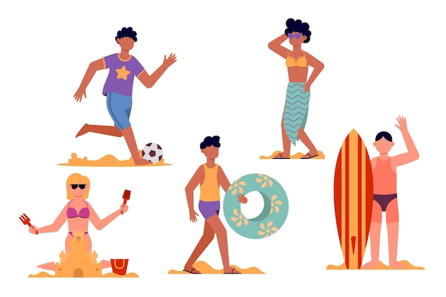 Flat design beach people collection