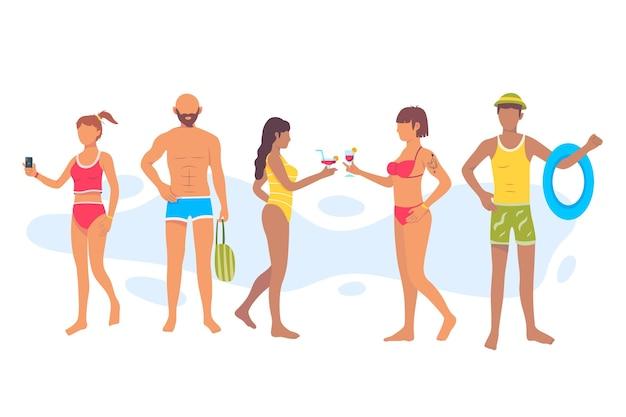 フラットなデザインのビーチの人々セット