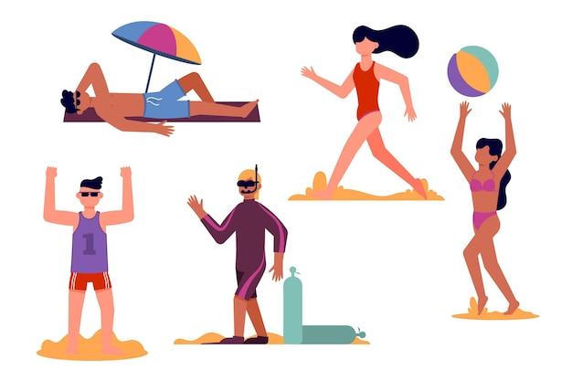 フラットなデザインのビーチの人々