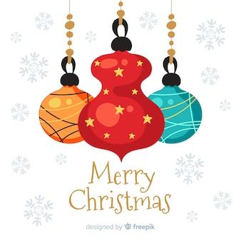 Flat design beautiful christmas balls