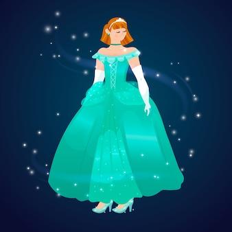 Плоский дизайн прекрасной принцессы золушки