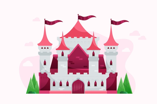Flat design beautiful fairytale castle