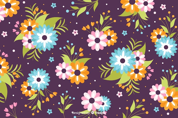Flat design beautiful floral background