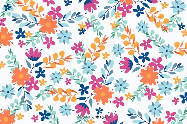 Flat design beautiful floral background