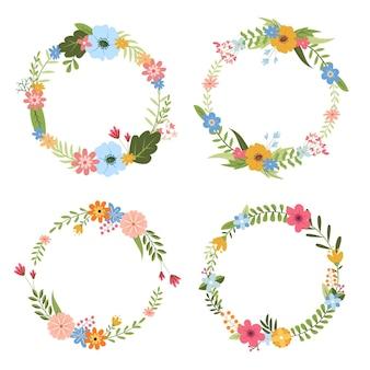 Коллекция красивых цветочных венков в плоском дизайне