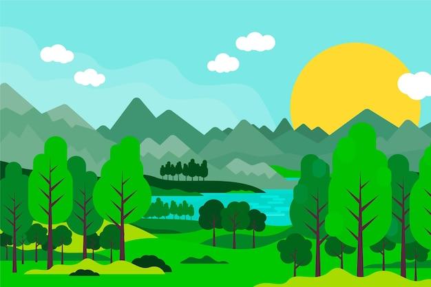 Flat design of beautiful landscape