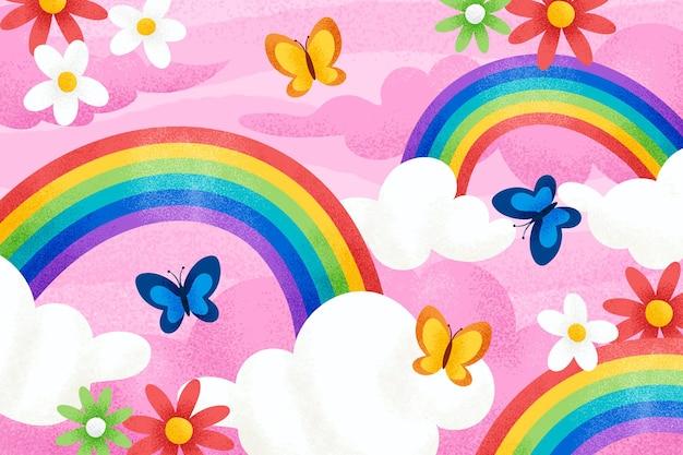 Flat design beautiful rainbow with flowers