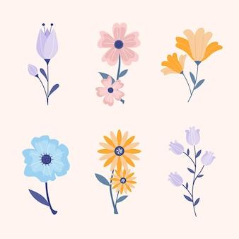フラットなデザインの美しい春の花コレクション