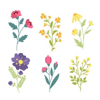 평면 디자인 아름다운 봄 꽃 모음