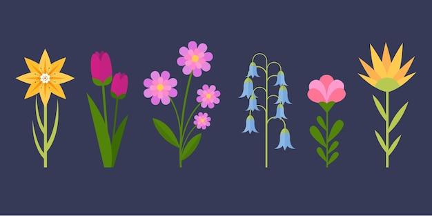 Плоский дизайн красивый весенний цветочный набор