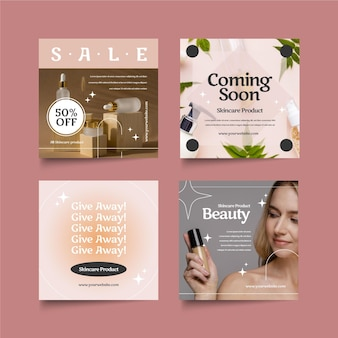 Flat design beauty instagram post set