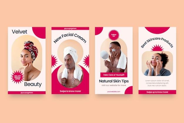 Flat design beauty instagram story pack