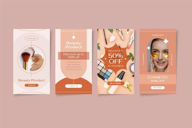 Flat design beauty instagram story set