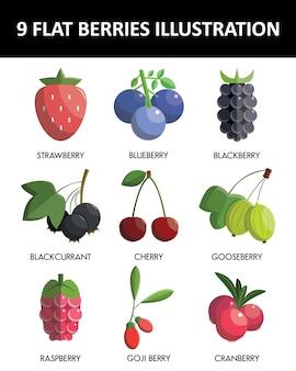 Flat design berries icon set