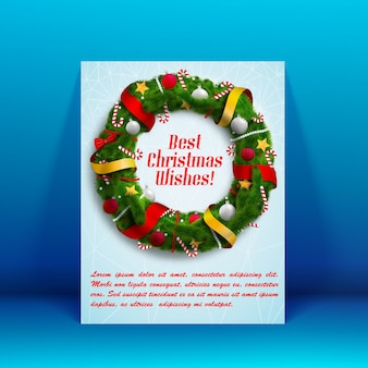 Flat design best wishes christmas postcard decorated with wreath illustration