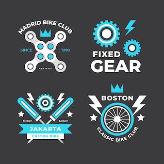 Pacchetto logo bici design piatto