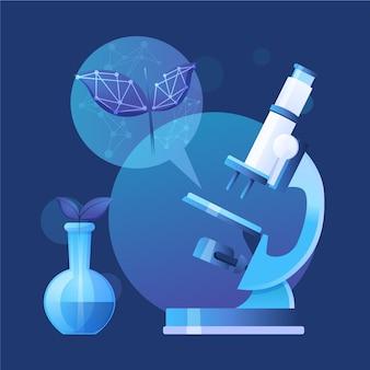 顕微鏡によるフラットデザインバイオテクノロジーの概念