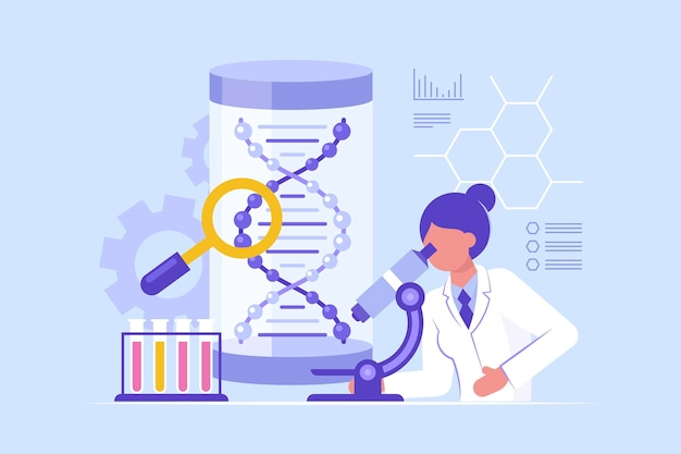 Flat design biotechnology concept with scientist