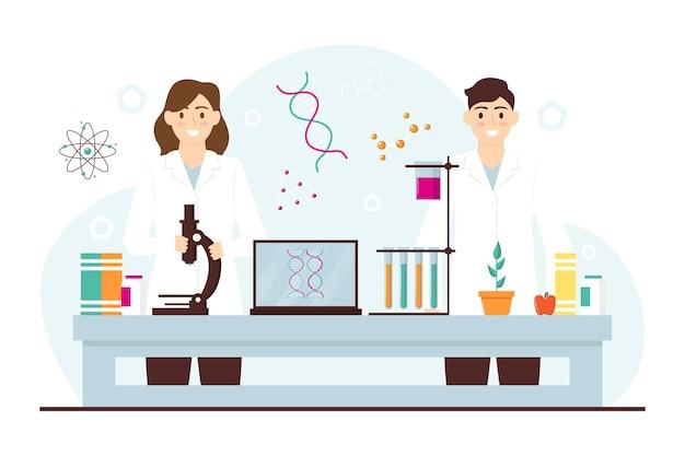 Flat design biotechnology concept
