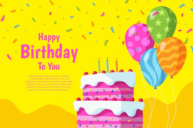 Flat design birthday background concept