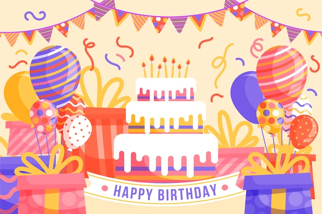 Sfondo di compleanno design piatto
