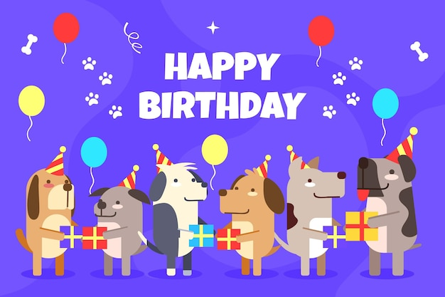 Flat design birthday background