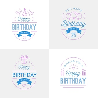 Flat design birthday badge collection