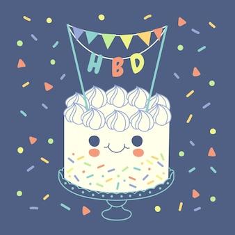 토퍼와 함께 평면 디자인 생일 케이크 무료 벡터