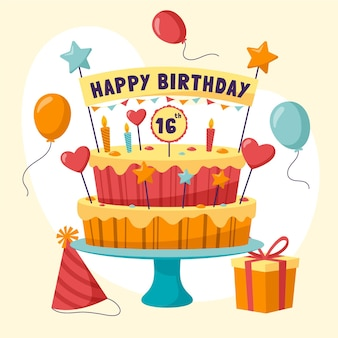 토퍼와 함께 평면 디자인 생일 케이크