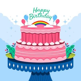 토퍼가 있는 평면 디자인 생일 케이크